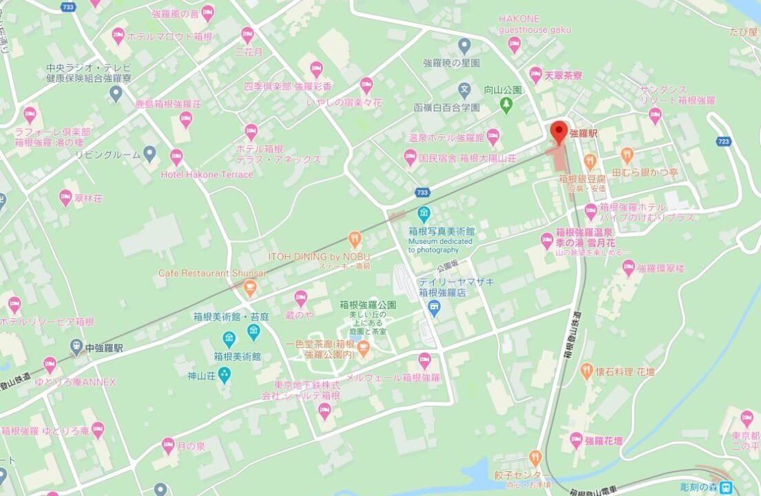 強羅駅周辺の地図