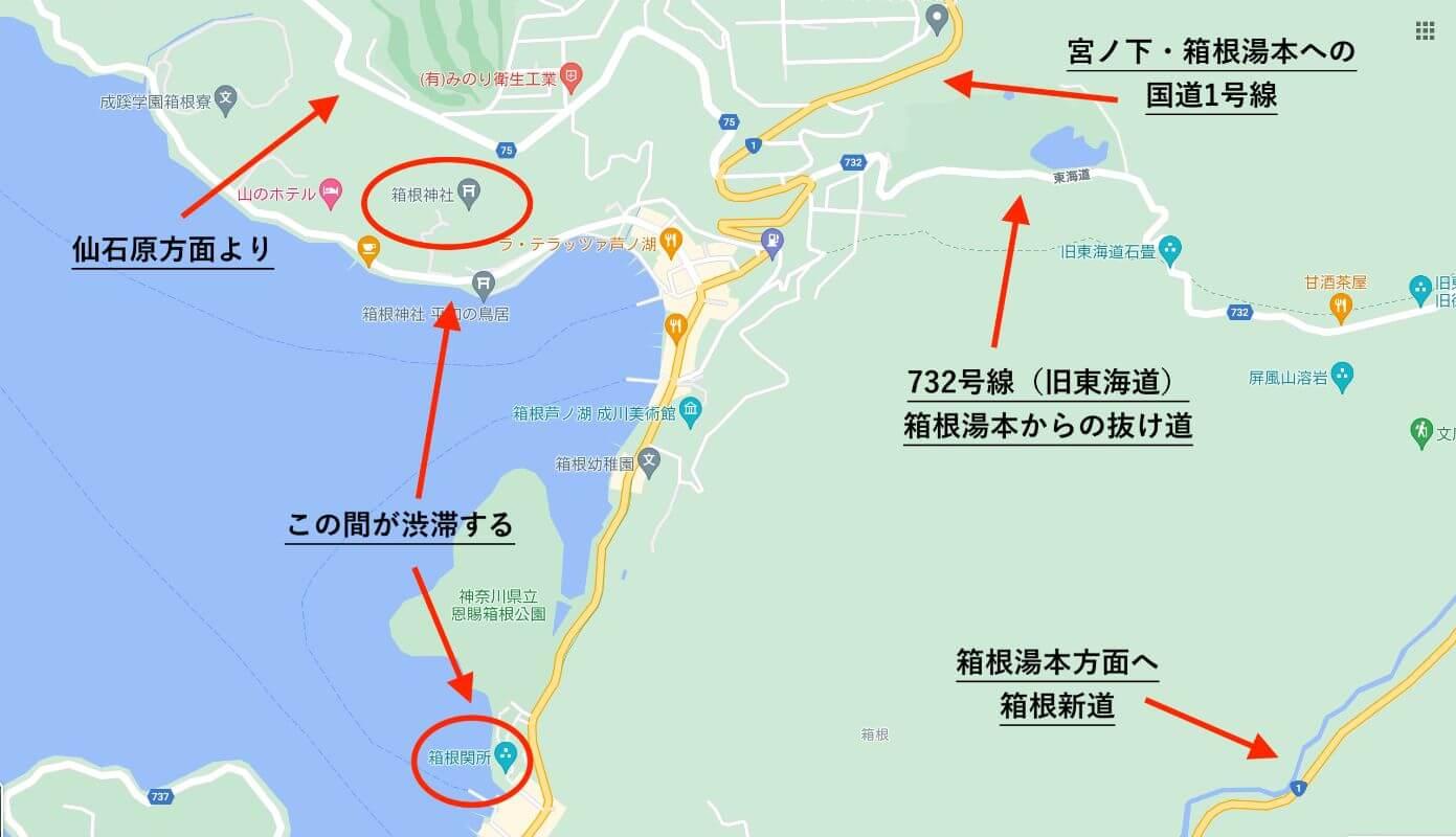 箱根へ車が渋滞する場所(箱根神社周辺)