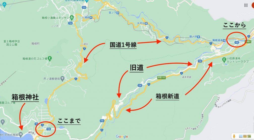 箱根の旧道と国道1号線