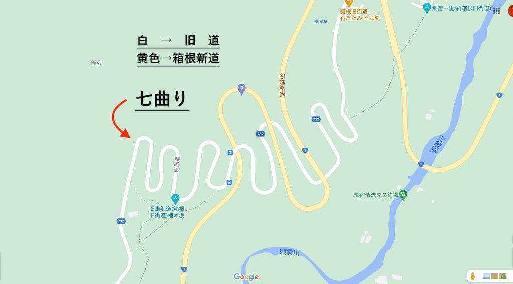 箱根の旧道(七曲りはクネクネが酷い)